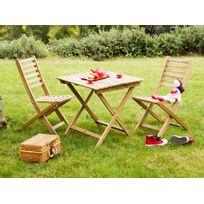 Zelie Gredine - Salon de jardin enfant 2 places en Acacia : 1 table carrée + 2 chaises Ludim