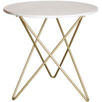 Table à de salle à manger rond design avec plateau en marbre blanc et  piètement en acier inoxydable doré L. 80 x P. 80 x H. 76 cm collection  Eliot ...