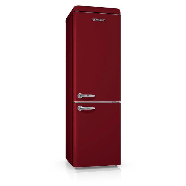 Schneider Scb300VWR Réfrigérateur combiné inversé Vintage 300 litres 209 litres + 91 litres froid brassé - coloris bordeaux - A