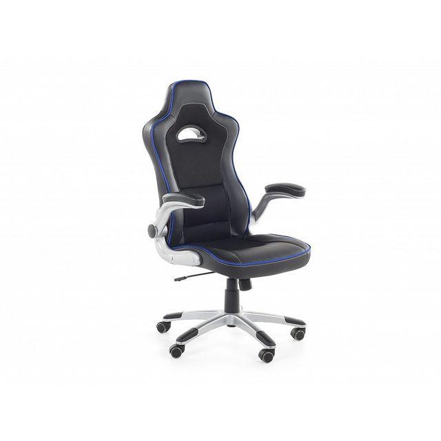 Beliani Chaise de bureau en cuir synthétique noir et bleu - Master