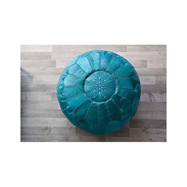 Poufs Pillows Pouf Marocain Turquoise En Cuir Pas Cher