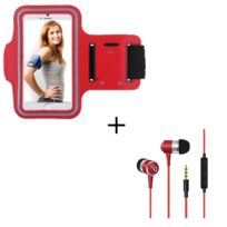 Oem - Pack Sport pour Huawei Ascend P8 Smartphone Brassard de Sport + Ecouteurs Metal avec Telecommande & Micro, T6 ROUGE