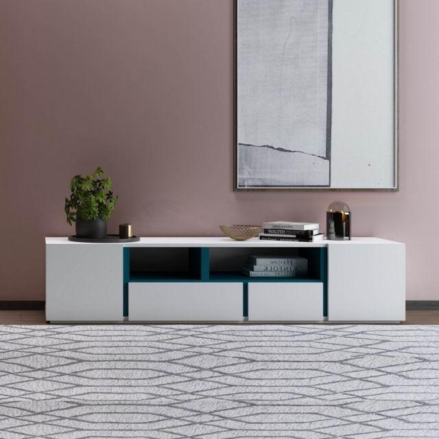 La Chaiserie Meuble Tv Design 2 tiroirs + 2 portes Blanc et Bleu Horizon