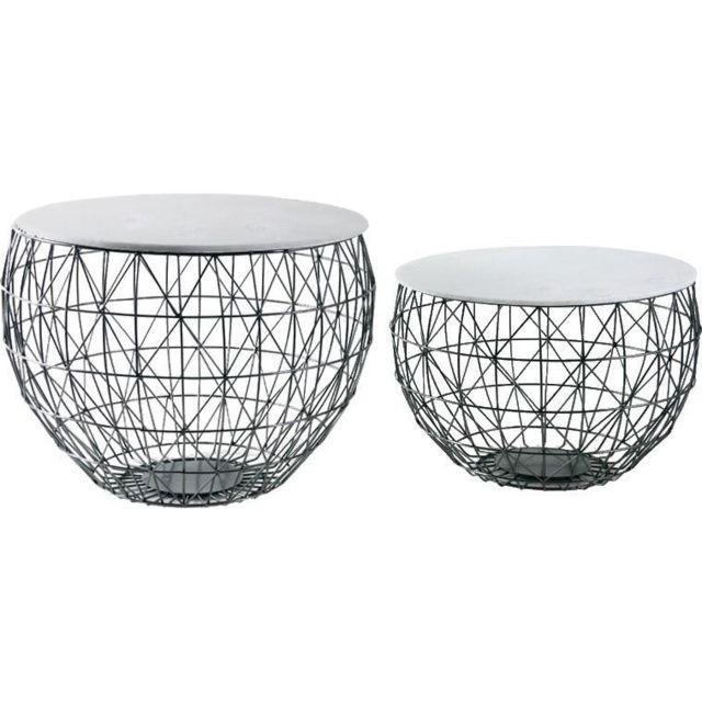 AUBRY GASPARD Tables basses en métal et marbre Lot de 2