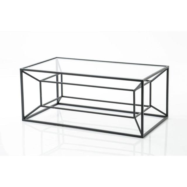 HELLIN Table basse métal et verre MATRICE
