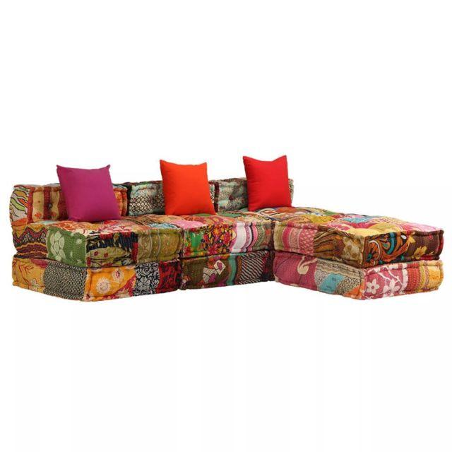 Vidaxl Canapé-lit modulaire à 3 places Tissu Patchwork