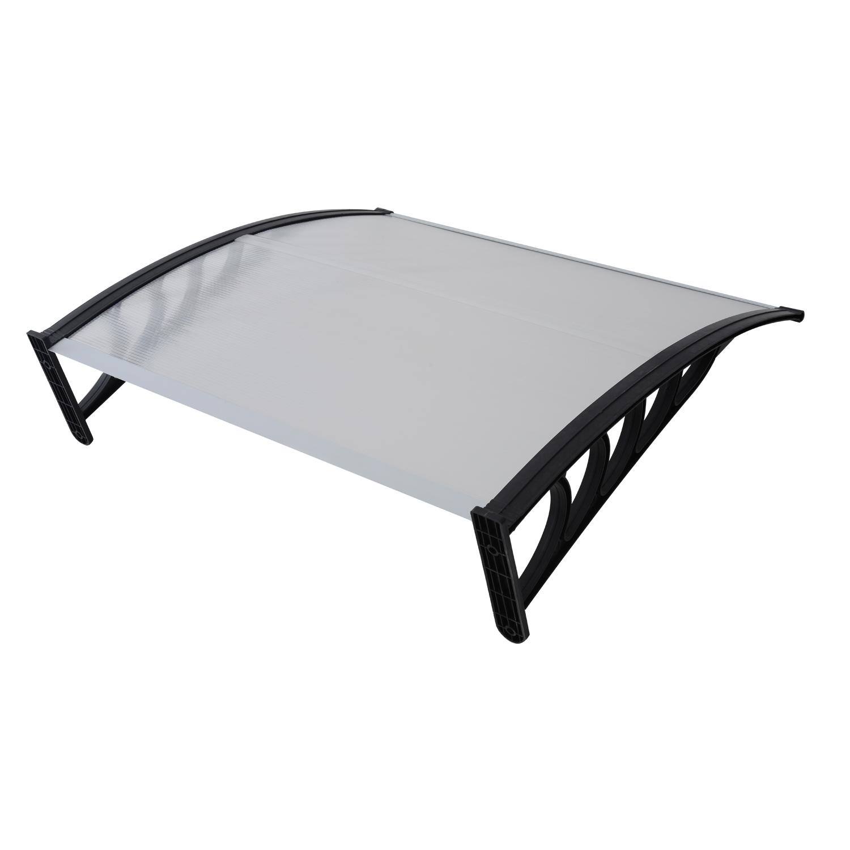 Auvent marquise de porte polycarbonate transparent design voûté arrondi 150 x 100 cm neuf 15BK