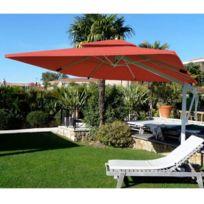 Abritez-vous Chez Nous - Parasol aluminum carré 3x3m Decor D Honfleur Rouge