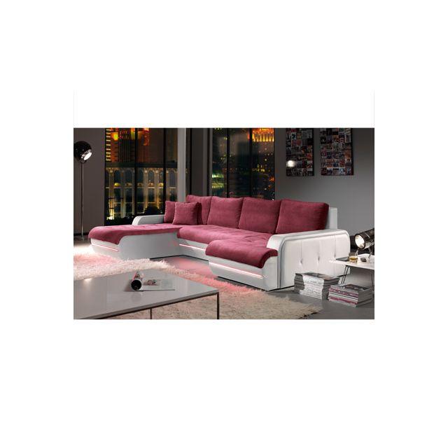 Canapé d'angle fixe gauche avec led aubergine et blanc Planete