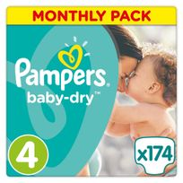 PAMPERS - Baby-Dry - Couches Taille 4 Midi, 8-16kg - 174 couches