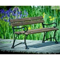 Banc de jardin en bois couleur palissandre et aluminium 150cm ou 180cm -  Avec accoudoirs