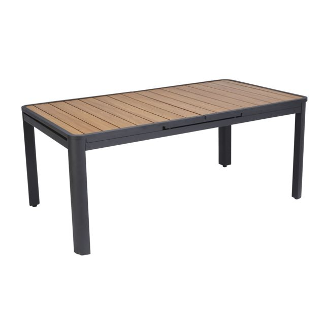 HYBA - Table jardin Siena allonge auto - Noir Noir et imitation bois ...