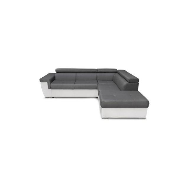 Sans Marque Edson Canape Dangle Droit 5 Places Convertible Avec Coffre De Rangement - Simili Blanc Et Gris - L 260 X P 220 Cm