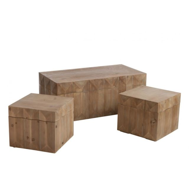 HELLIN COFFRES EN BOIS NATUREL - LOT DE 3