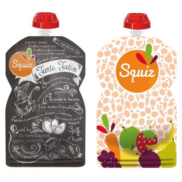 1 GOURDE SOUPLE FRUITS ENFANT LAVABLE