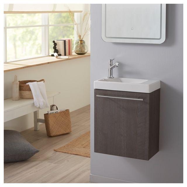 Soldes Lave-mains complet avec meuble gain de place couleur sandy grey Bois  Sandy grey Planete Bain