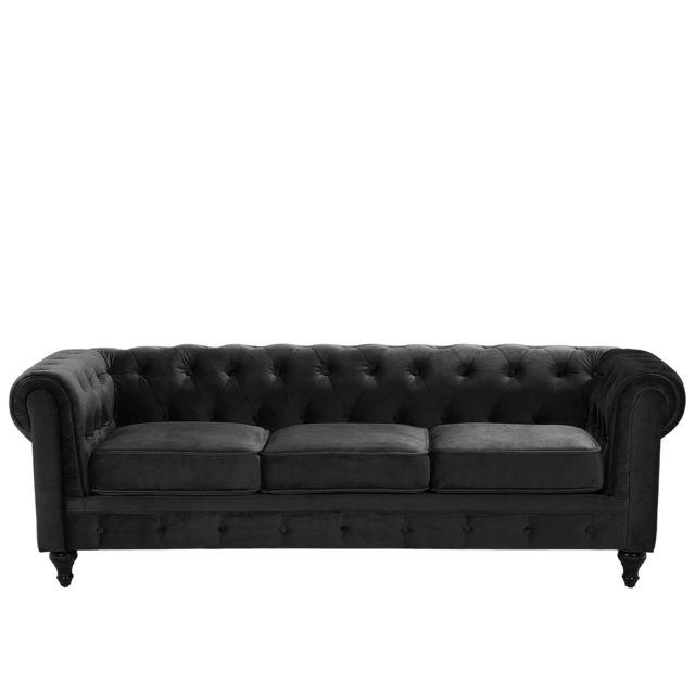 BELIANI Canapé 3 places en velours noir CHESTERFIELD