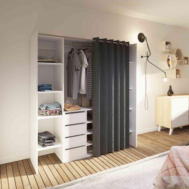 Dressing extensible en bois blanc rideau anthracite - DR6017