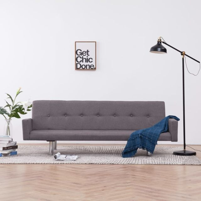 Vidaxl Canapé-lit avec accoudoir Taupe Polyester