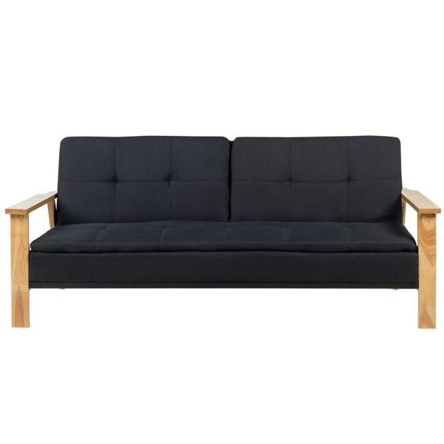 BELIANI Canapé-lit en tissu noir TJORN