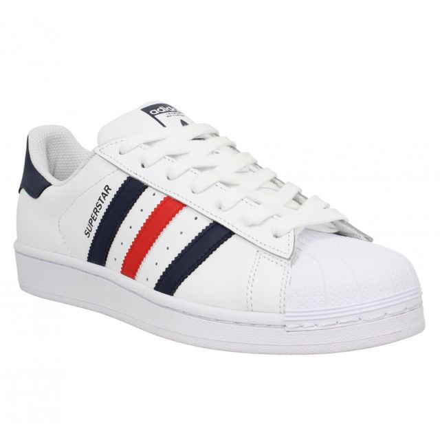 Adidas - Superstar Foundation cuir Homme-42 2/3-Blanc Bleu Rouge