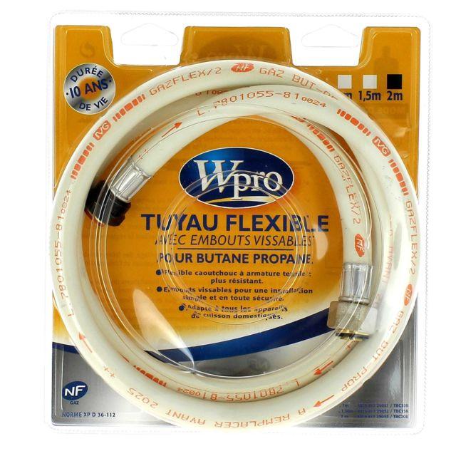 Wpro Tuyau butane 2m visse 10 ans pour Cuisiniere Accessoire, Cuisiniere