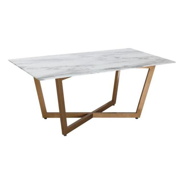 Table A Manger Marbre.Table De Repas Metal Verre Marbre Or Milio
