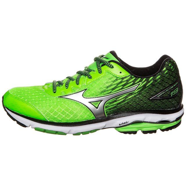 9ba69a85125 Mizuno - Mizuno Wave Rider 19 Verte Et Noire Chaussures de running homme