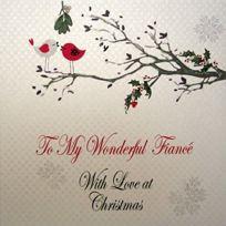 White Cotton Cards - Fiance To My Wonderful With Love Carte De NoËL Faite À La Main