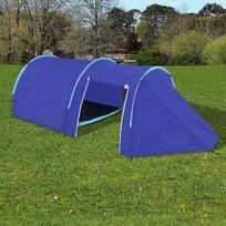 Vimeu-Outillage - Tente de camping imperméable 4 Personnes Bleu marin/bleu clair