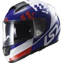 Ls2 - casque moto intégral en Fibre Ff397 Podium blanc-bleu brillant Promo L