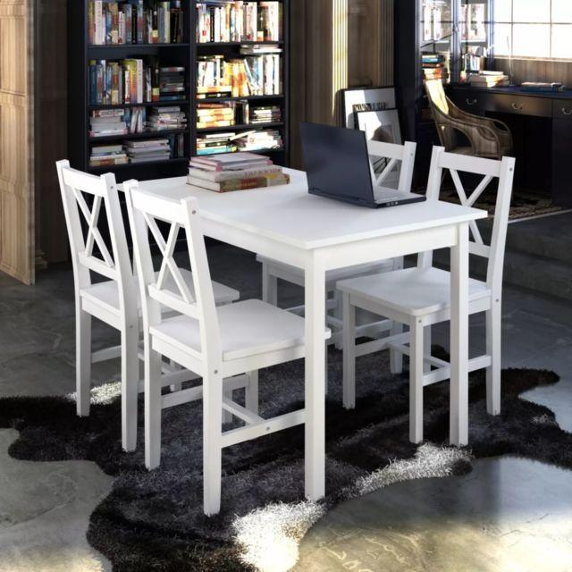 Magnifique Ensembles de meubles famille Mexico 1 ensemble Table en bois + 4 chaises Couleur Blanc