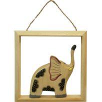 BARCLER - Cadre déco éléphant en bois clair