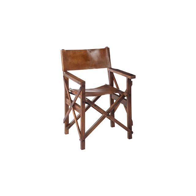 Chaise de regisseur 56x56x88cm en cuir marron