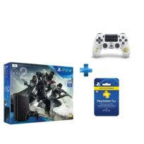 SONY - Pack PS4 1 To Black + Destiny 2 + Dual Shock Destiny 2 - PS4 + Carte Playstation Plus - Abonnement 3 mois