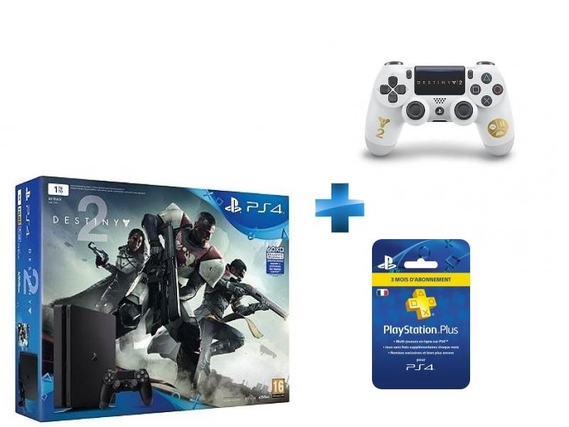 Pack PS4 1 To Black + Destiny 2 + Dual Shock Destiny 2 - PS4 + Carte Playstation Plus - Abonnement 3 mois