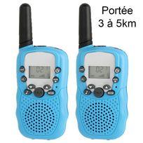 Yonis - Talkie walkie 22 canaux push to talk écran Lcd portée 3 à 5 km Bleu