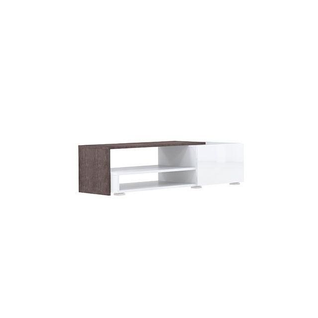Meuble tv 1 tiroir blanc effet b ton 120 cm sebpeche31 for Meuble tv effet beton
