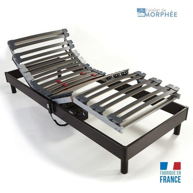 atelier de morphee sommier lectrique 90x200 noir 90cm x 200cm pas cher achat vente. Black Bedroom Furniture Sets. Home Design Ideas