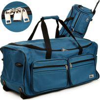 Rocambolesk - Superbe Grand sac de voyage trolley 100L avec roulettes - Bleu - sac transport & cadenas neuf