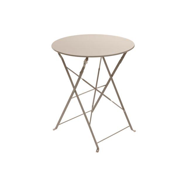 HESPERIDE - Table de jardin ronde Camargue Ø 60 cm Taupe mat ...