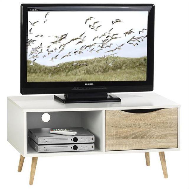 IDIMEX Meuble TV étagères et tiroir MDF décor blanc sono