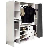 Inside 75 - Dressing extensible Chica 2 colonnes 4 tiroirs blanc avec rideau anthracite