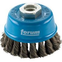 Forum - Brosse à boisseau, fil d'acier trempé, torsadé, Ø de la brosse : 65 mm, Epaisseur du fil 0,50 mm, Vitesse maxi. 12500 tr/mn