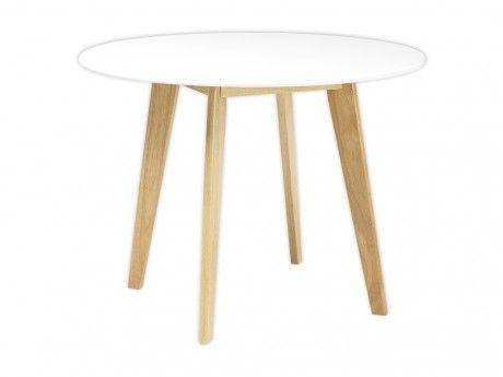 VENTE-UNIQUE Table ronde COLETTE - 4 couverts - Hévéa massif et MDF - Blanc