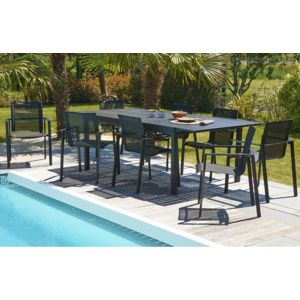 dcb garden table aluminium noir 240 300 cm avec rallonge pas cher achat vente tables de. Black Bedroom Furniture Sets. Home Design Ideas