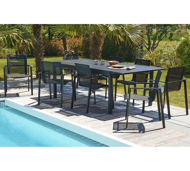 DCB GARDEN Table aluminium noir 240/300 cm avec rallonge