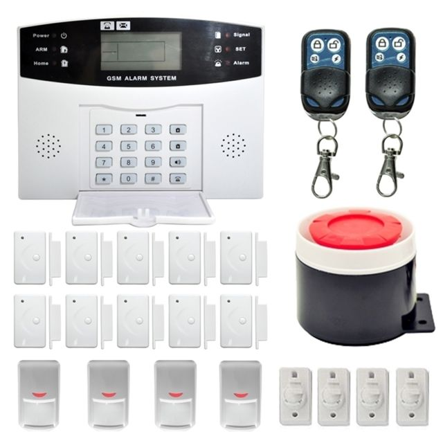 wewoo syst me d 39 alarme sans fil de cambriolage de maison de s curit de de sms avec l 39 cran d. Black Bedroom Furniture Sets. Home Design Ideas