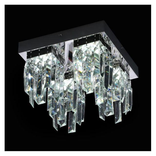 Kosilum - Lustre Plafonnier cristal Led carré chromé - Vienna - En ...