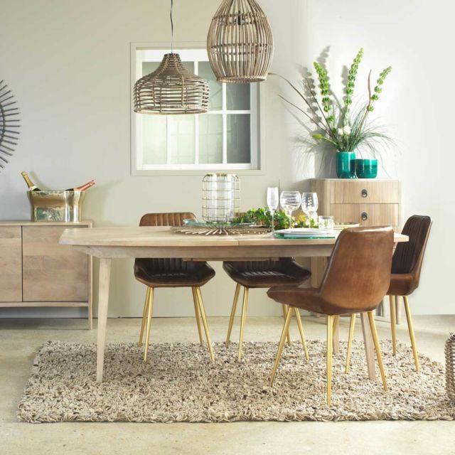 Made In Meubles - Chaise design cuir naturel marron - piétement finition dorée | Me-24C Brown